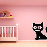 Wall Stickers Vinyl Decal Black Cheshire Cat Alice In Wonderland  (z1787)
