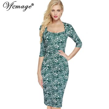 Vfemage Women Elegant Vintage Floral Flower Printed Pinup Square Neck Casual Wear To Work Office Party sheath Bodycon Dress 3925