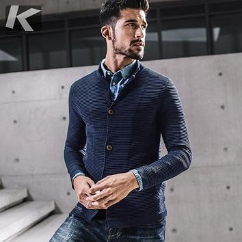 KUEGOU New Autumn Mens Fashion Sweaters Striped Blue Color Knitted Cardigan Brand Clothing Man's Slim Knitwear Sweatercoat 17022