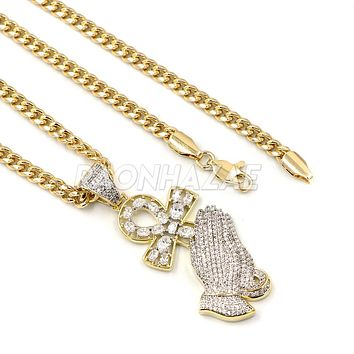 "Lab Diamond 14K Gold PT Praying Hands Ankh Cross Pendant w/ 24"" Cuban Chain B011G"