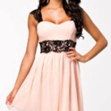 Radiant Lace Embellished Skater Dress
