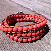 Pink Coral Beaded Leather 3 Wrap Bracelet