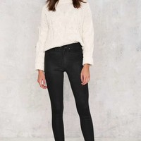 Zee Gee Why Swizzle Sticks High-Waisted Skinny Jeans - Black