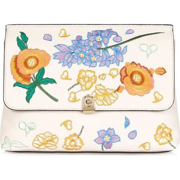 Topshop Floral Embroidered Faux Leather Clutch | Nordstrom