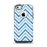The Vintage Blue Striped Chevron Pattern V4 Apple iPhone 5c Otterbox Commuter Case Skin Set