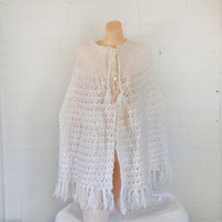 Winter Poncho Blanket Sweater Poncho Crochet Poncho Fringe Poncho Blanket Poncho Wraps Shawls Sweater Cape Knit Cape Ivory Sweater Vintage