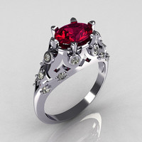 Modern Edwardian 14K White Gold 1.0 Carat Oval Rhodolite Garnet Diamond Bridal Ring R147-14WGDRG