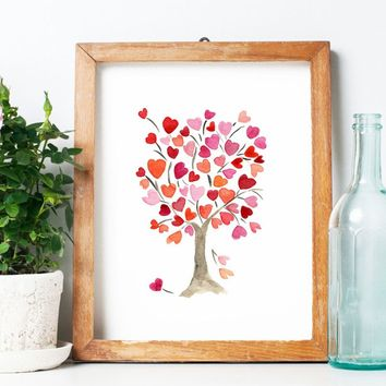 The Hearts Trees Watercolor Paintings Wall Art Print Desk Decoration Home Wall Decor Nursery Wall Art Painting Noframed