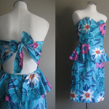 vintage 80s Dress / Peplum Floral Bow Cut Out / Carrie Bradshaw Dress