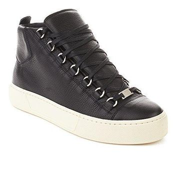 Balenciaga Men's Arena Leather High Top Sneaker Shoes Black
