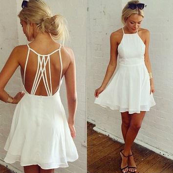Fashion  Solid Color Sleeveless Backless Hollow Strap Chiffon Mini Dress