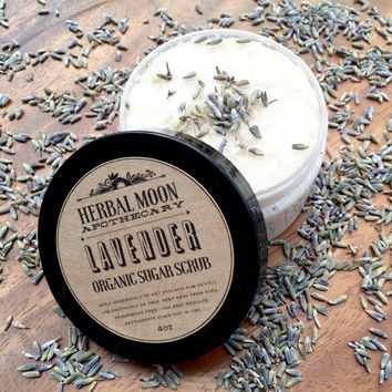 LAVENDER sugar scrub, organic • nourishing, all-natural body polish • cruelty-free and vegan friendly • 4oz or 8oz jar