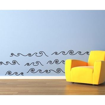 Curly Waves Wall Decal - Ocean Decor - Water Decal - Vinyl Wall Art - Kids Wall Stickers