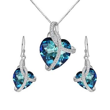 "SHIP BY USPS:  925 Sterling Silver CZ ""Courageous Heart"" Inspired Pendant Necklace Hook Earrings Set Made with Swarovski Crystals"