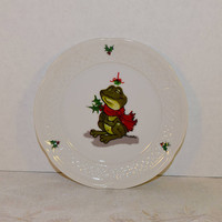 Enesco Suzy's Zoo Frog Plate Vintage Christmas Frog Dish 1976 Retired Suzys Zoo Mistletoe Holly Christmas Collectible Holiday Collection