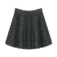 Flared Shape Pleated Silver Tweed Skirt [NCSTX0020] - $69.99 :