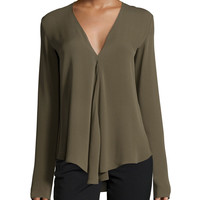 Meniph Long-Sleeve Silk Top, Size: