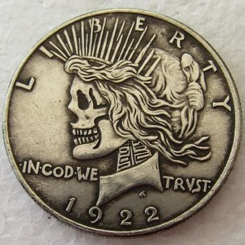 Top Selling US Head-To-Head Two Face 1922/1922 Peace dollar skull zombie skeleton hand carved Copy Coins High quality