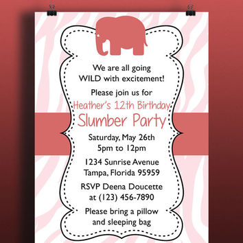 Instant Download-Elephant Tiger Coral Pink Animal Print Pink White DIY Printable Birthday Party Baby Girl Shower Wedding Invitation Template