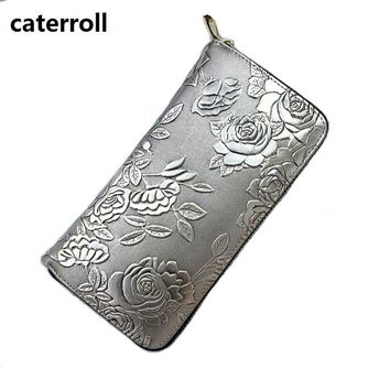 new women wallets and purses genuine leather female purse long style floral ladies wallet luxury brand money bag