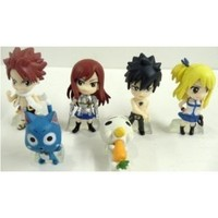 Qiyun Hard to Find Fairy Tail 6 Piece Figure Set Featuring Natsu Dragneel, Happy, Ezra Scarlet, Gray Fullbuster, Lucy Heartfilia, and Pue (A.K.A. Nokora) Figures