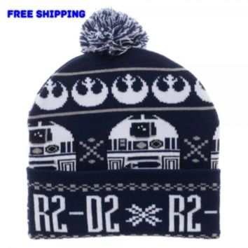 Star Wars R2D2 Pom Cuff Beanie Winter Hat Cap OSFA Disney NEW!