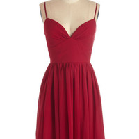 ModCloth Mid-length Spaghetti Straps A-line Looking Red Haute Dress in Rouge