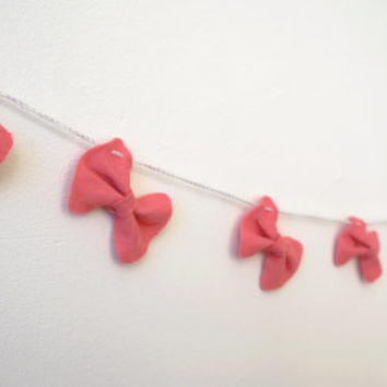 Pink Bow Garland, Bow Bunting, Pink Bow Banner, Girl garland, Pink home decor, pink photo prop, shower gift, girls room, pink room decor