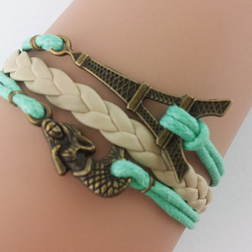 Eiffel /Little Mermaid Bracelet / Leather Bracelet / Mint Leather Bracelet / Best Bridesmaid Gift, Friendship Gift