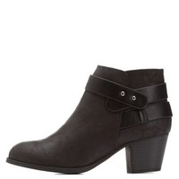 Black Distressed Belt-Wrapped Ankle Booties by Charlotte Russe