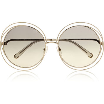 Chloé - Carlina oversized round-frame stainless steel sunglasses