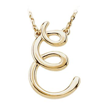 14k Yellow Gold, Olivia Collection, Medium Script Initial E Necklace