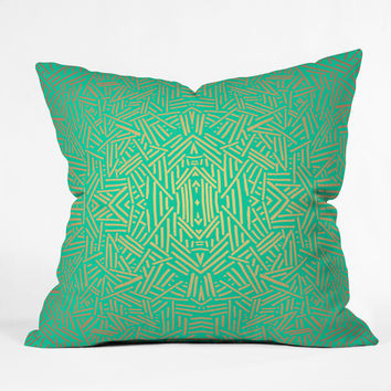 Jacqueline Maldonado Radiate Teal Gold Throw Pillow