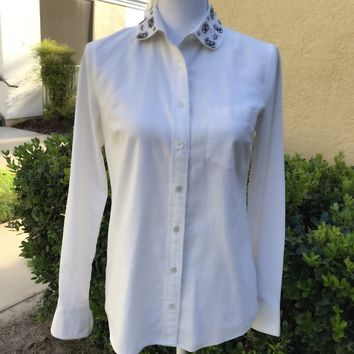 J CREW Women's SIZE 2 100% Cotton White Rhinestone Collar Career Button Down Shirt