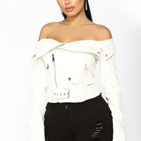 Ride With You Moto Jacket Top - White