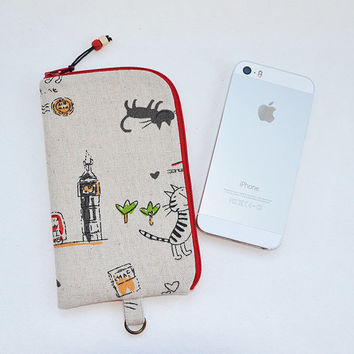 Cat linen Phone Case | London black red Iphone case | Zipper Phone holder | Phone sleeve | Cat lover gift | iPhone 5 Case | iPhone 6 case