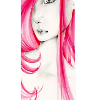 Watercolor Painting OOAK Fashion Illustration Original Watercolor & Pencil Drawing Pink Watercolor Painting Neon Hot Pink Illustration