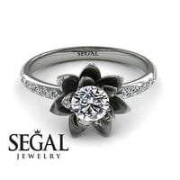 Unique Engagement Ring Diamond ring 14K White Gold Flower - Lotus