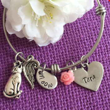 Pet Memorial Jewelry - Cat Memorial Bracelet - Pet Loss - Personalized Pet Memorial Bracelet Expandable In Memory of Cat - Cat Remem
