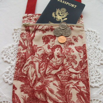 French Toile Travel Purse Cross Body Pouch Passport Holder Small Travel Pouch Neck Wallet Minimalist Fabric Handmade