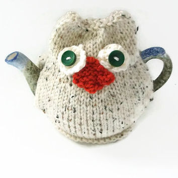 snowy owl  tea cozy hand knitted tea cosy small two cup pot cosie