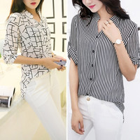 New Womens OL Half Sleeve Top Chiffon T-shirt Striped Blouse Shirts SV005156
