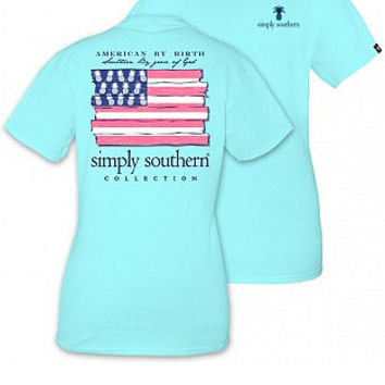 """Simply Southern """"American By Birth"""" Tee - Marine Blue"""