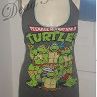 Teenage Muntant Ninja Turtles Classic Leo Raphael upcycled Altered re purposed sexy diy halter top shirt dress tunic choose size