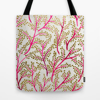 Pink & Gold Branches Tote Bag by Cat Coquillette