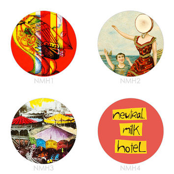 Neutral Milk Hotel - Set of 4 -  Everything Is On Avery Island In the Aeroplane Over the Sea Indie Lo-Fi Buttons Pins Badges Pinback