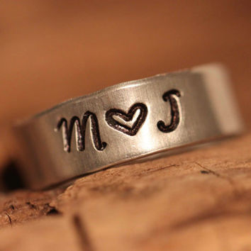 My Crush Ring - Love Initial Hand Stamped Rings