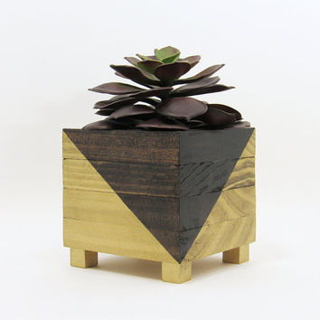 Succulent Planter, Modern Planter, Wood Planter, Succulent Pot, Air Plant Holder, Planter Box, Geometric Planter, Indoor Planter, Gold