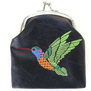 Lavishy Hummingbird Embroidered Kiss Lock Coin Purse Pouch Black