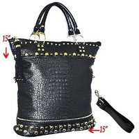 CELEBRITY STYLE! Studded Large Black Faux Leather Designer Style Shoulder Bag w/beautiful Gold Bling Detail top handles by Jersey Bling